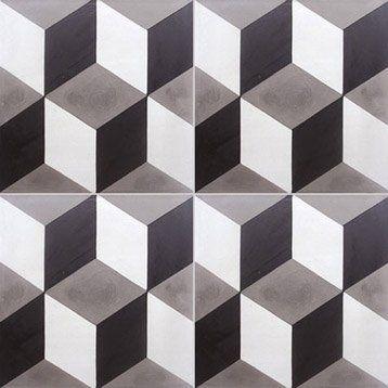 Carreau de ciment intérieur Cube 3D PREMIUM, blanc et noir, 20 x 20 cm