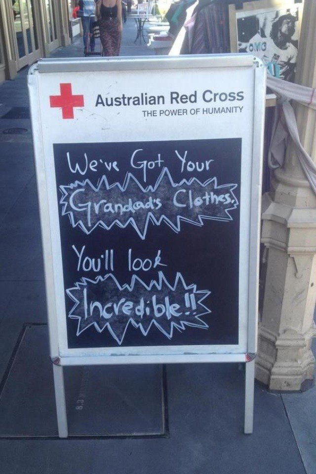LOL... I love this! It's not often you see an op shop with a sense of humor. Should be more of it.