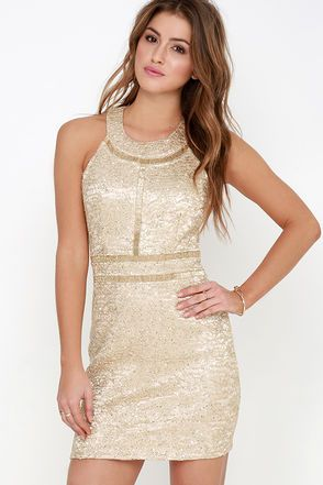 My Prerogative Gold Beaded Dress at Lulus.com!