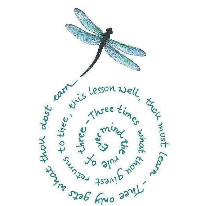 Rule of three in a spiral by a Dragonfly...If I had a spirit bug, it would be a dragonfly lol ♡♡