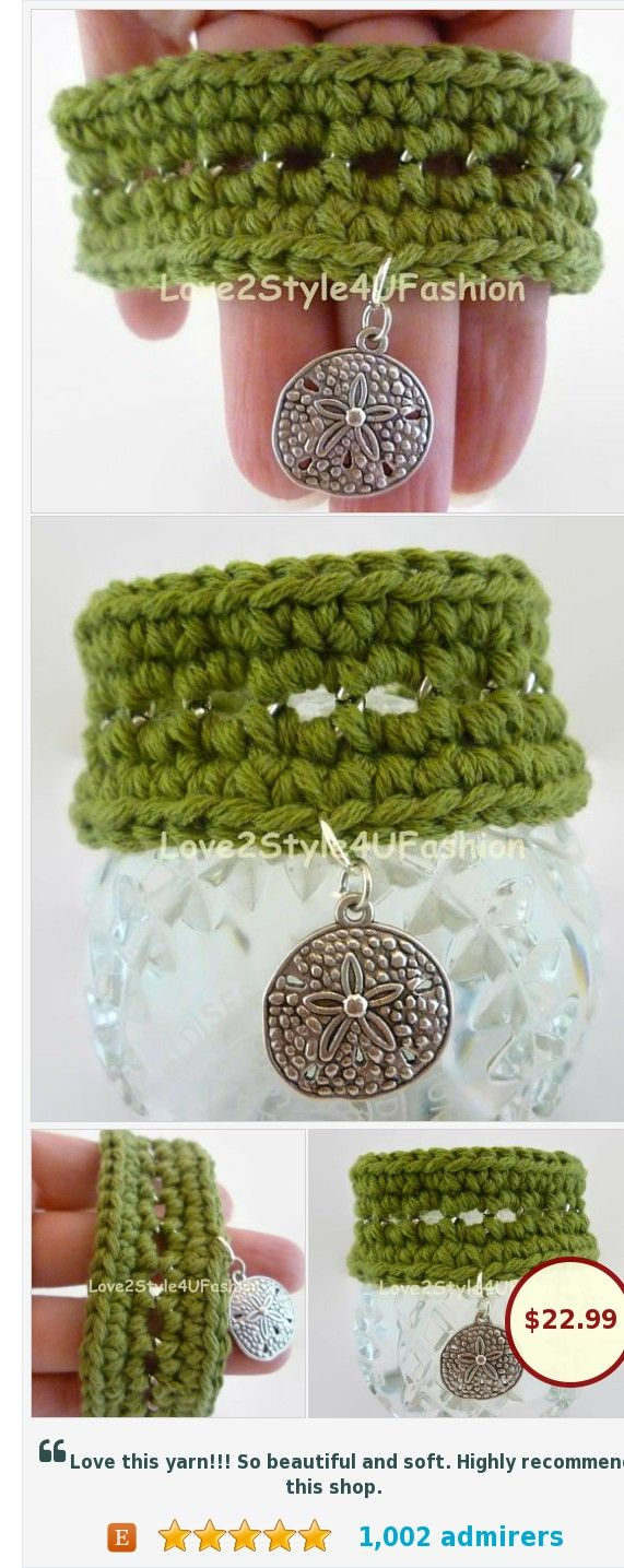 Greenery Bracelet, Pantone Color of the Year #etsy @love2knit4u https://www.etsy.com/Love2Style4UFashion/listing/255258619/greenery-bracelet-pantone-color-of-the?ref=shop_home_active_5