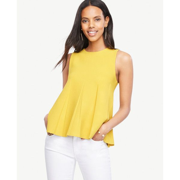 Ann Taylor Pleated Sweater Tank ($80) ❤ liked on Polyvore featuring tops, saffron spice, pleated top, sleeveless tops, sleeveless tank, sleeveless tank tops and ann taylor