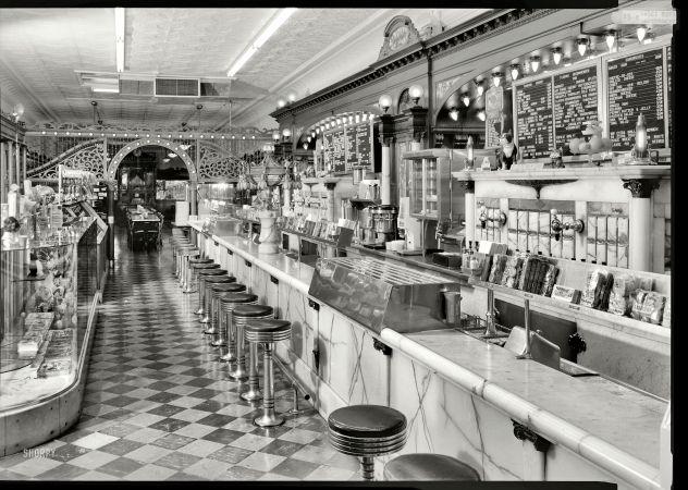 """Zaharako Bros. April 1974. Columbus, Indiana. """"Zaharako Bros. Ice Cream Parlor, 329 Washington St."""""""
