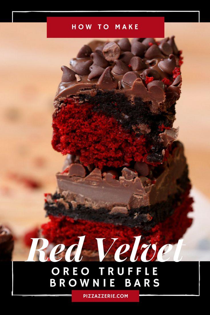 The original Red Velvet Oreo Truffle Brownie Bars, delish!