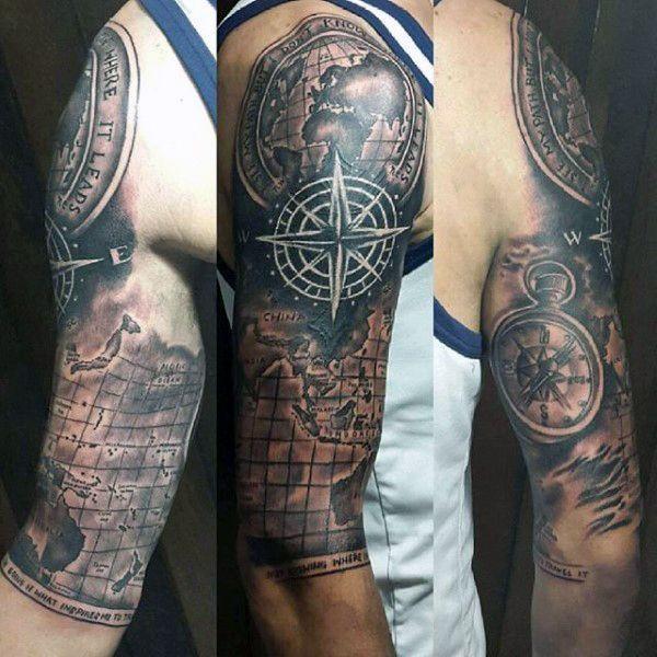 ... tattoos map tattoo men mens half sleeve tattoos compass sleeve tattoo