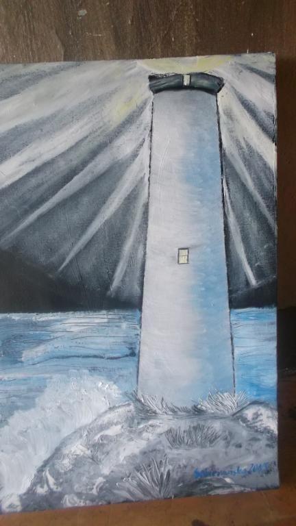 "Obraz olejny ""Latarnia morska nocą"""