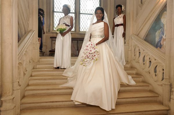 Stephanie Okereke with her bridemaids wearing all white. (Stephanie Dress is by Elie by Elie Saab 2012 Collection).  http://www.pronovias.us/wedding-gowns/last-collection-elie-saab/