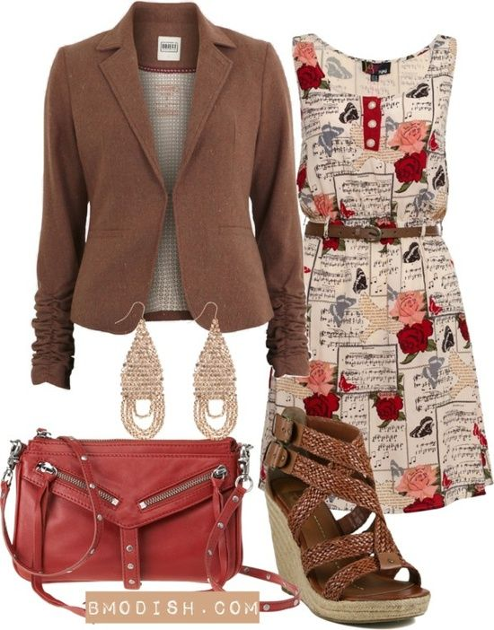 Red Beige Floral Brown Outfit
