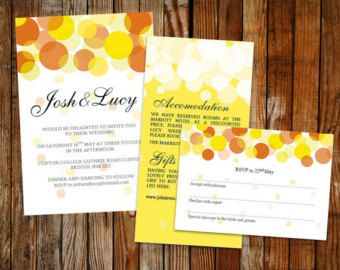 Wedding template set - (Beautiful Lights) Orange and Yellow – DOWNLOAD PRINTABLE Microsoft word templates, DIY wedding, invite set