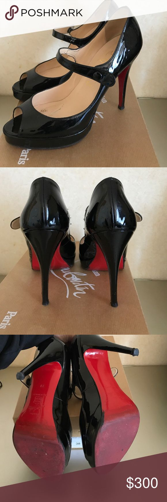 Christian Louboutin Maryjane Excellent condition CL shoes in patents leather. Had protective soles out on before wear. Come with box. One of the snaps closure are slightly stretched. Christian Louboutin Shoes Heels