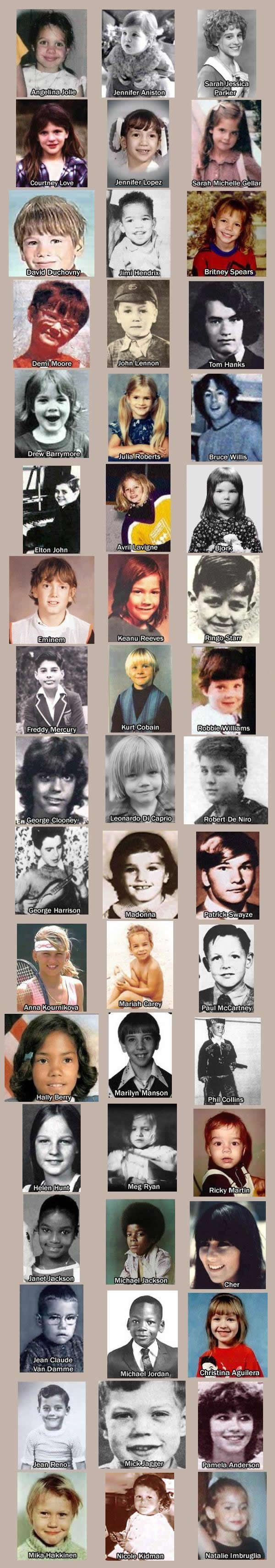 Stars as kids! (But I'm pretty sure the 1st pic is Jeanine Gerafelo not Angelina Jolie)