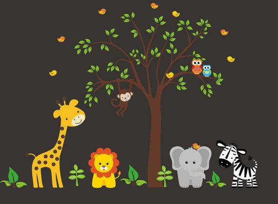 Best Safari Nursery Decals Images On Pinterest Kids Rooms - Jungle themed nursery wall decals