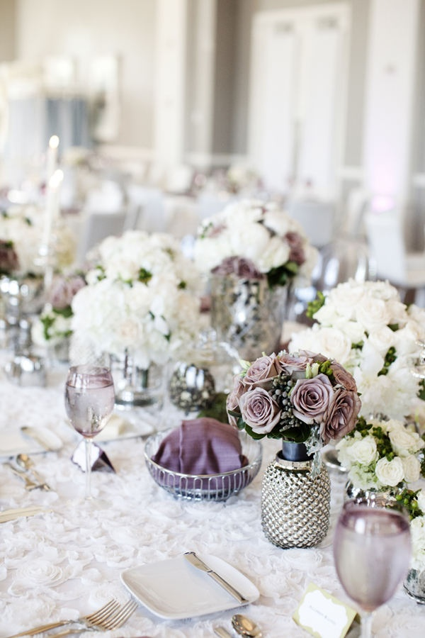 love the texture of the table cloth, soft lavender and heights