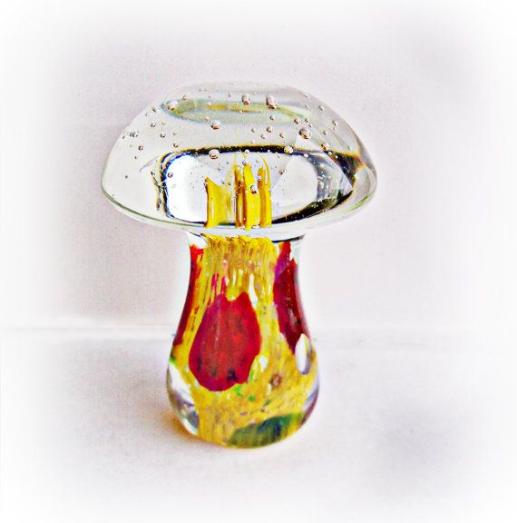 Vintage Artisan Blown Glass Mushroom Paperweight by papercherries
