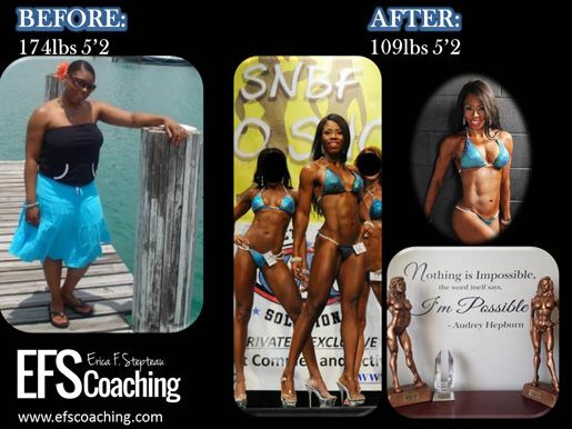 Amazing transformation!  174lbs, 5'2 now 109lbs.  She is now a figure competitor and lifestyle coach helping others to live fit and healthy lives.