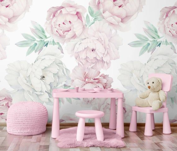 Pink Peony Wallpaper Peel And Stick For Nursery Peonies Etsy Pink Peonies Wallpaper Peony Wallpaper Flower Mural