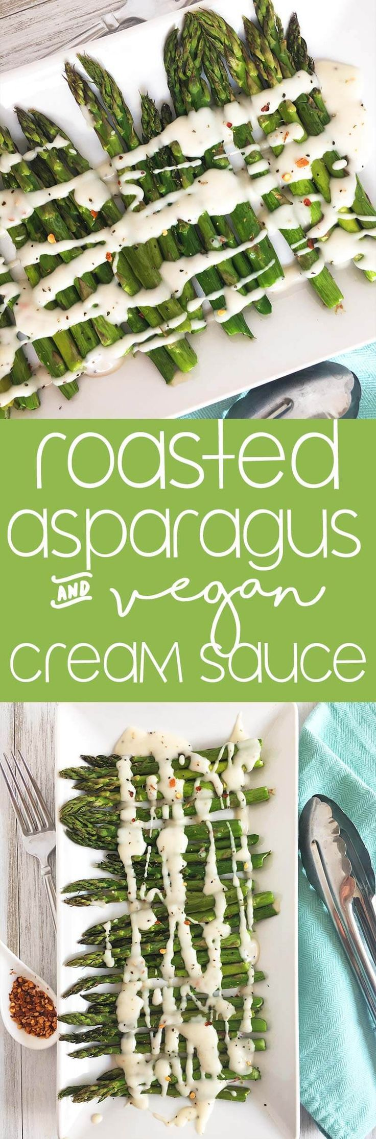 Roasted Asparagus with Cream Sauce - Vegan Side Dish Recipe | thecrunchychronicles.com