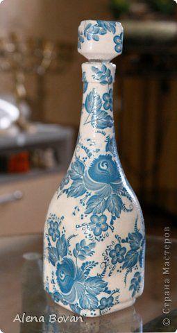 Декор предметов Декупаж ДЕКУПАЖ бутылочки новые и старые  Бутылки стеклянные Салфетки фото 26