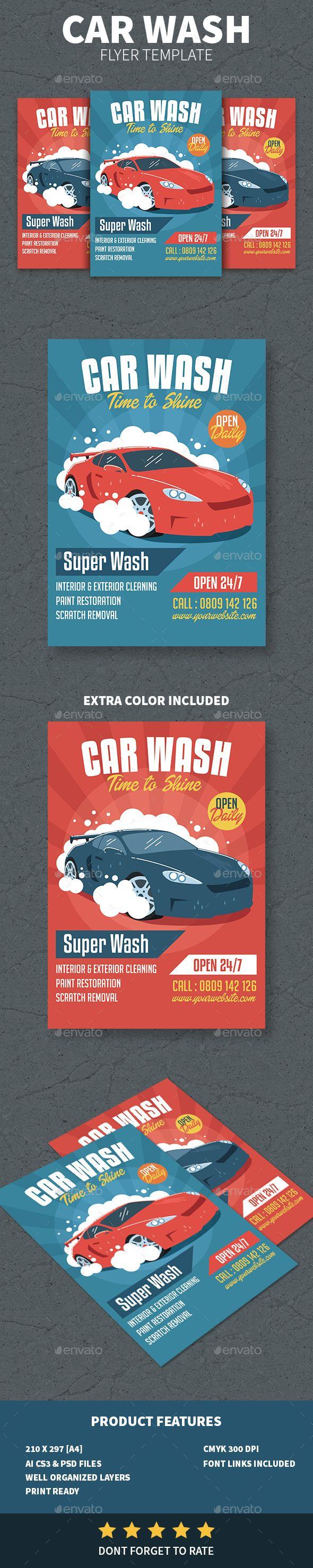 Car Wash Flyer Template PSD, AI Illustrator
