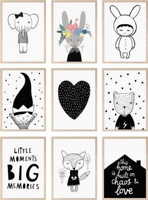 Monochrome posters kids room black and white