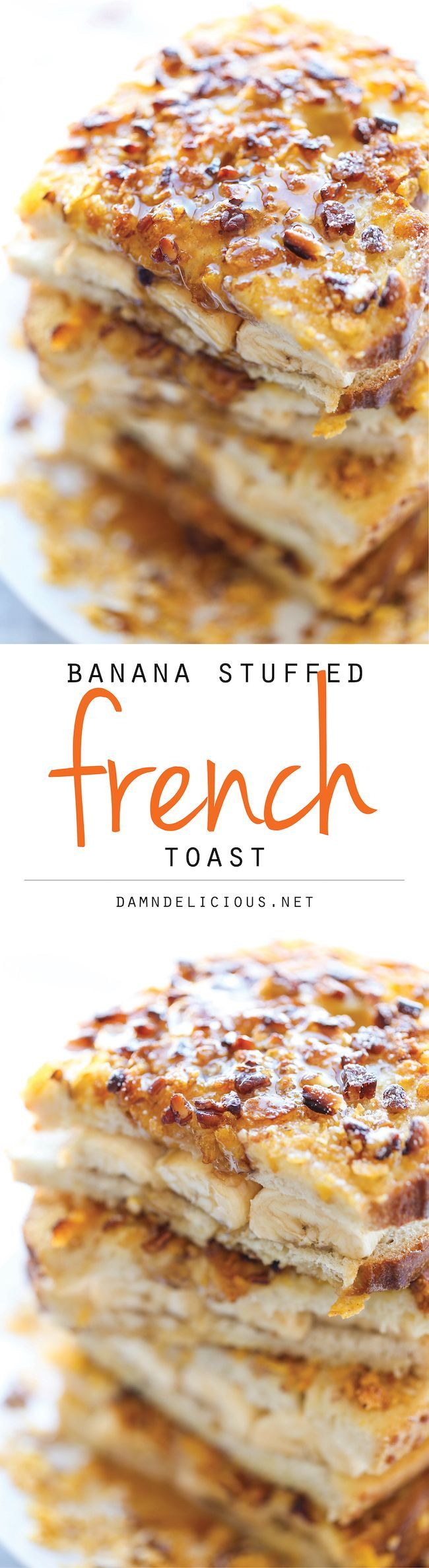 Banana Stuffed French Toast ~ After this, you'll never want traditional French toast ever again. And this is the perfect way to use up those spotty bananas!