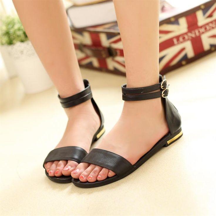 Потеря Новая коллекция Весна Скидки матовой кожи плоские сандалии со словом случайные тонкие кожаные ботинки - Taobao
