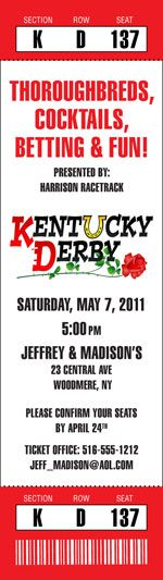 Kentucky Derby Photo Ticket Invitation / A great ticket invitation for a Kentucky Derby party.
