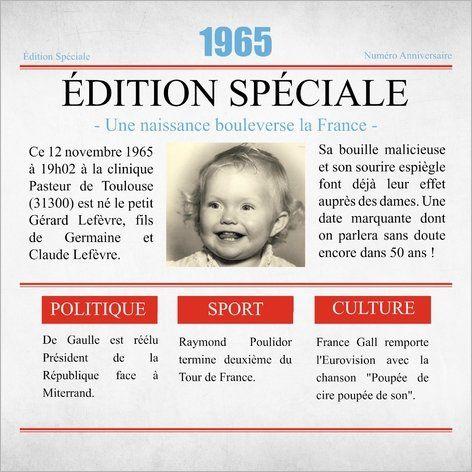 Carte d'invitation anniversaire retrospective : Que s'est-il passé l'année de votre naissance ?  A partir de 0.62€ sur Popcarte.com