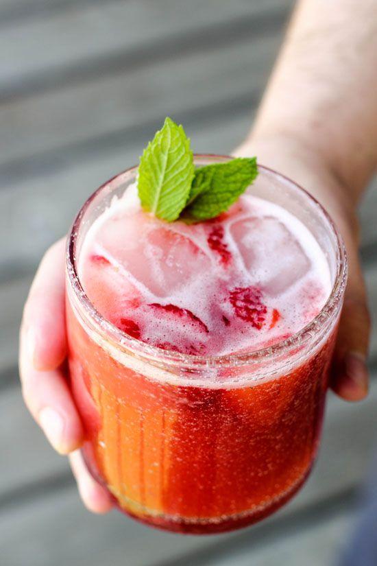 Homemade strawberry lemonade! Just strawberries, sugar, lemon juice, and water