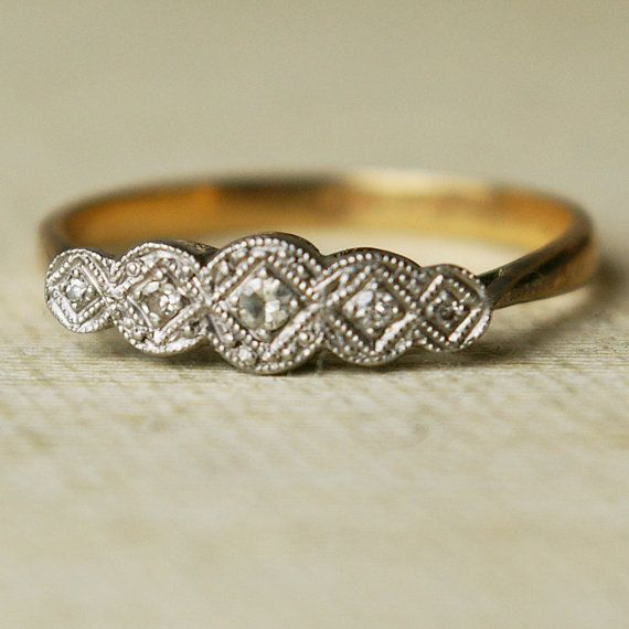 Antique Diamond Wedding Ring Platinum  9k Gold Engagement Ring Edwardian Era US 7