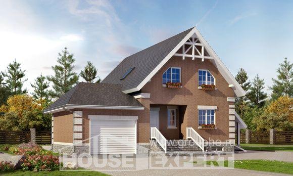 200-009-Л Проект трехэтажного дома с мансардой, гараж, простой коттедж из пеноблока, Викулово