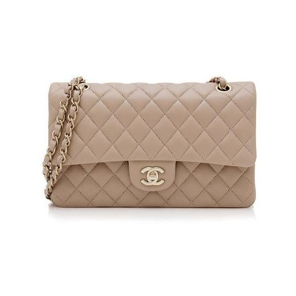 d0715cfcde0a75 Rental Chanel Lambskin Classic Medium Double Flap Bag ($500) ❤ liked on  Polyvore featuring bags, handbags, shoulder bags, beige, beige purs…