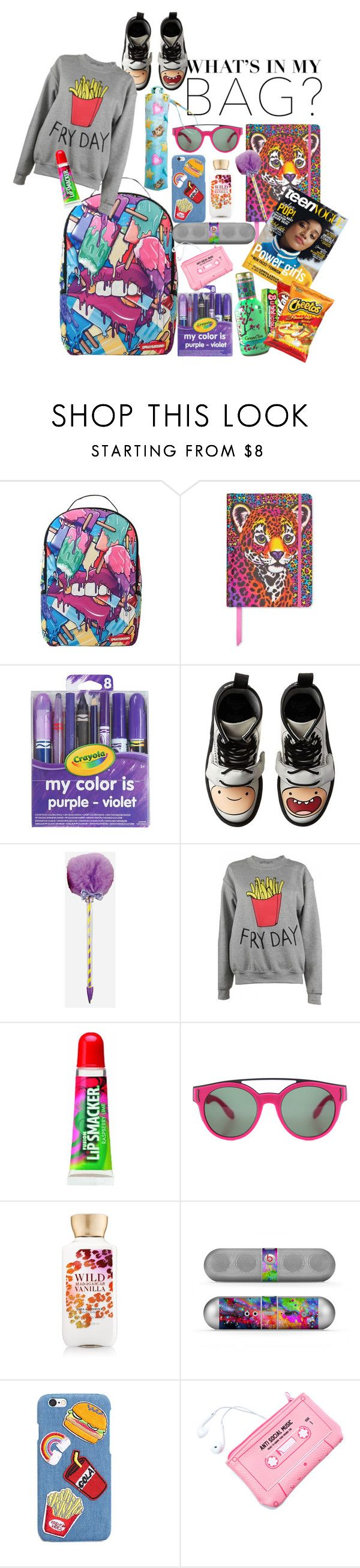 """BTW BTS LOL Wutevz"" by candice-kharhyzma-mividaloca-curry ❤ liked on Polyvore featuring Sprayground, Lisa Frank, Dr. Martens, Adolescent Clothing, Givenchy, Beats by Dr. Dre, Lazy Oaf, backpack and inmybackpack"