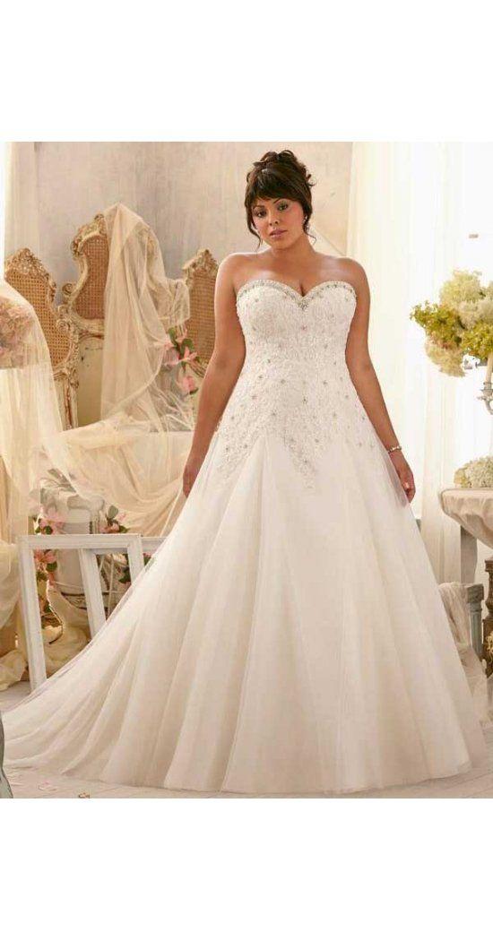 Neue Stile A-Linie Herz-Ausschnitt Sweep/Pinsel Zug aus Organza Hochzeitskleid für Mollige