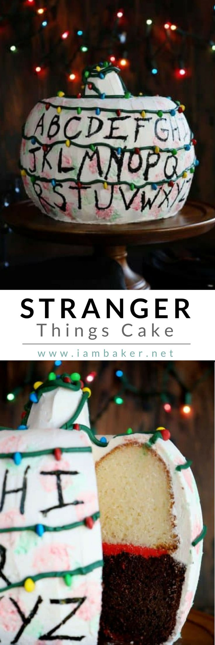 "This unique bundt cake is for all fans of Stranger Things! Spice up your Halloween Party with this amazing DIY Stranger Things cake! ""Not only is this cake perfect for any fan, but it tastes amazing too! White cake, chocolate cake, buttercream, and M&M's! I know my kids LOVED it!"" See more unique ideas @iambaker. More dessert recipes at #iambaker #iambakerdessert #iambakercake"