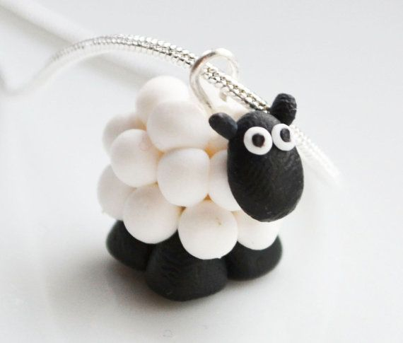 Miniature+Sheep+Necklace+Fimo+Polymer+Clay+por+ClaytimeDesignsUK