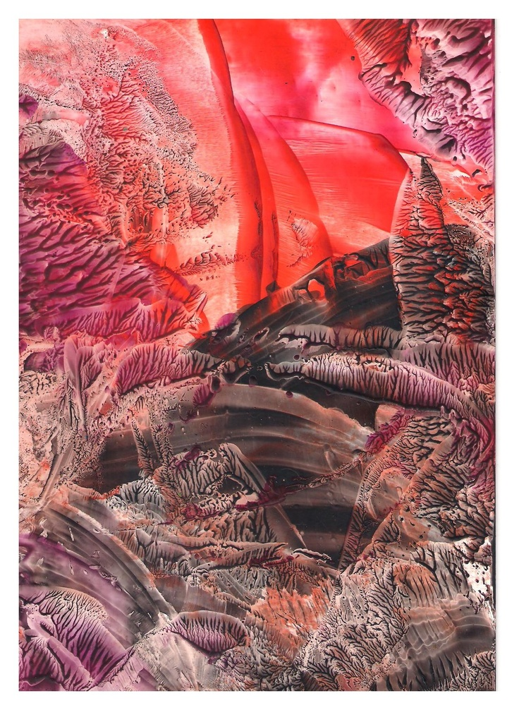 Red and Black Encaustic art wax fantasy landscape painting.