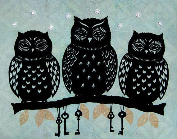 owlsPaper Cut, Three Owls, Papercut, Art Prints, Cut Paper Art, Owls Art, Wise Owls, Angie Pickman, Three Wise