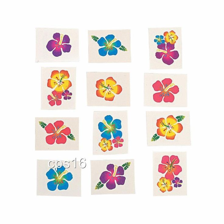 36 x Hibiscus Glitter Tattoos...Childrens Party Favours..Party Loot Bag Supplies