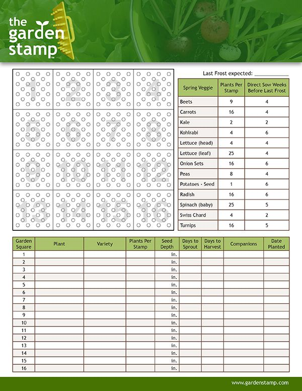 Spring Garden Planning Worksheet