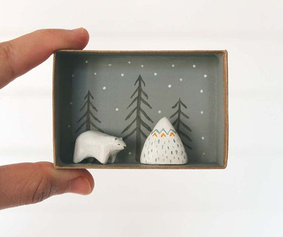 Animal miniature  Polar bear and mountain  3D by sweetbestiary