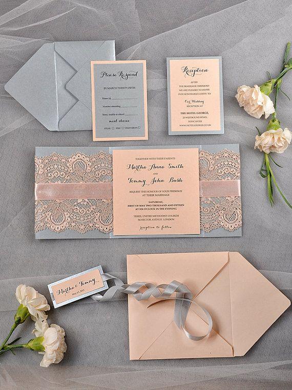 Vintage Wedding Invitation Lace wedding by 4LOVEPolkaDots on Etsy