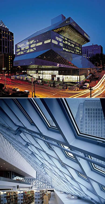 The Seattle Public Library's Central Library is the flagship library of The Seattle Public Library system. The 11-story glass and steel building in downtown Seattle, Washington was opened to the public on Sunday, May 23, 2004.