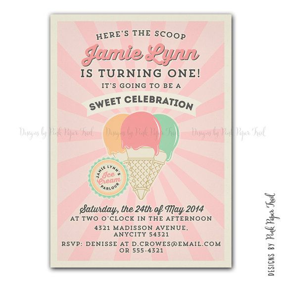 Vintage Ice Cream Parlor / Ice Cream Shop by PinkPaperTrail, $15.00 #icecreamparty #icecreaminvitation