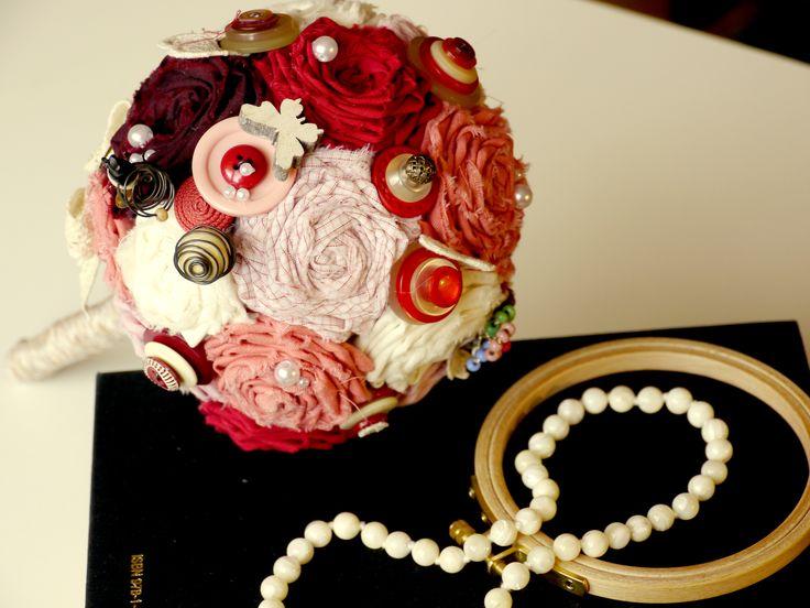 Vintage fabric flower bouquet with button applications...a red beauty #buttons, #fabricflower, #vintage, #beads, #alternativegift, #alternativegirl