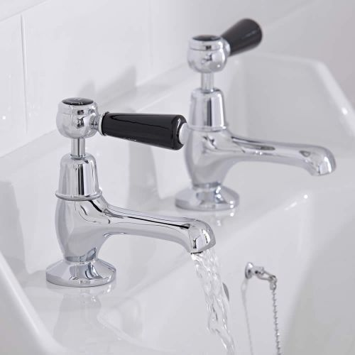 The Hudson Reed Topaz chrome and black basin taps will add class and elegance to any bathroom