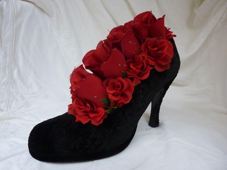 Shades of red in black velvet high heel faux flower