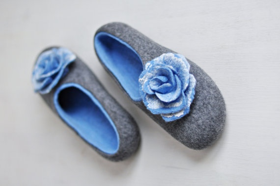Felted slippers for women  Gray & Blue  Made to by ShpilkaFelt, $68.00