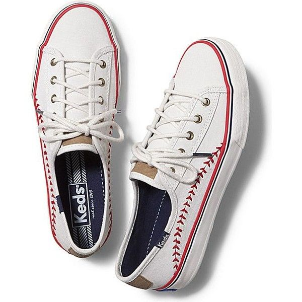 Keds Double Play found on Polyvore featuring polyvore, fashion, shoes, sneakers, off white, keds, keds sneakers, off white shoes, laced shoes and baseball trainer
