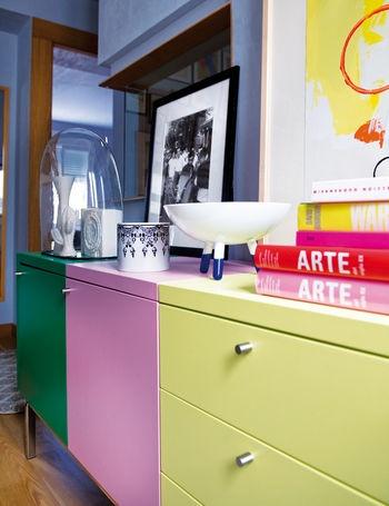 colored cabinet: Inspiración Decoración, Colors Cabinets, Decor Ideas, Penthouses Design, Madrid, Bright Penthouses, Colors Kitchens, Colors Blocks, Madrid To